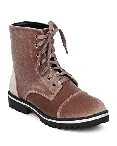 Women Velvet Combat Bootie - Casual Trendy Everyday - Velvet All Weather Boot - GF86
