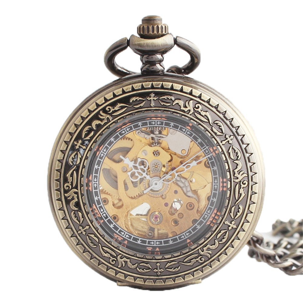 Zxcvlina Classic Smooth Exquisite Bronze Retro Pocket Watch Boutique Carved Unisex Mechanical Pocket Watch with Chain Suitable for Gift Giving