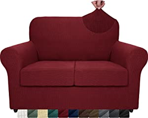 ZNSAYOTX 3-Piece Loveseat Slipcovers High Stretch Spandex Sofa Slip Cover Living Room Love Seat Couch Covers for 2 Cushion Couch Jacquard Small Checks Furniture Protector (Wine Red, Loveseat)