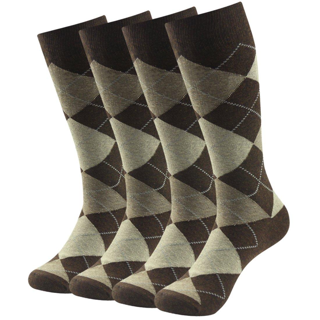 Business Suit Socks, SUTTOS Mens Fashion Argyle Dress Crew Socks,Jacquard Plaid Pattern Charged Cotton Blend Mid Calf Long Tube Crew Gift Dress Socks for Groomsmen Wedding Socks,4 Pairs