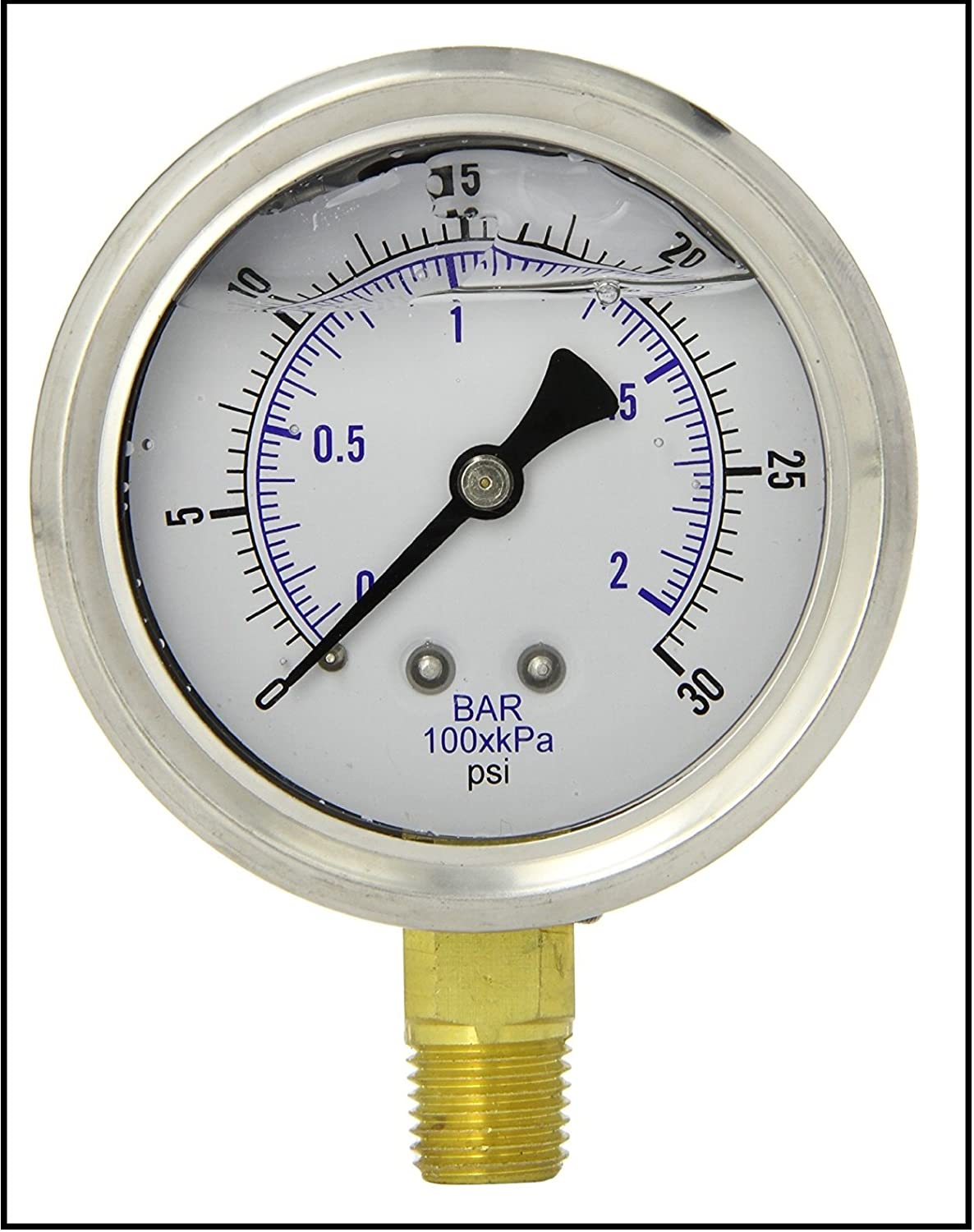 New Stainless Steel Liquid Filled Pressure Gauge Wog Water Oil Gas 0 Vdo Fuel To 30 Psi Lower Mount 1 4 Npt 25 Face Dial For Compressor Hydraulic Air