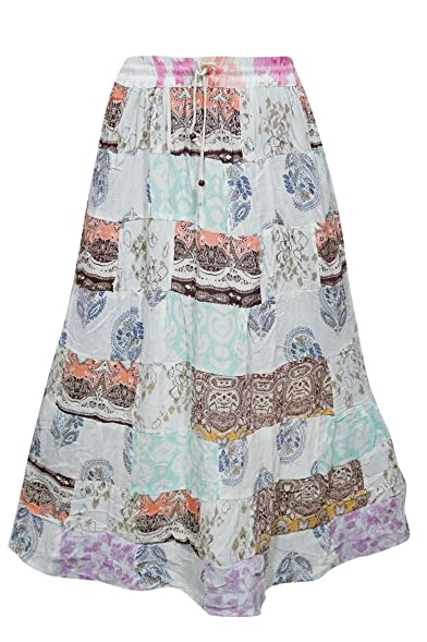 mogulinterior Womens Peasant Skirts Printed Patchwork Vintage Maxi Skirts L