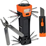 SadoTech 19-in-1 Multi Tool Set Multipurpose Functional Flashlight Hammer Cutter Screwdriver Pliers Outdoor Repairs Survival Camping, Orange Multitool