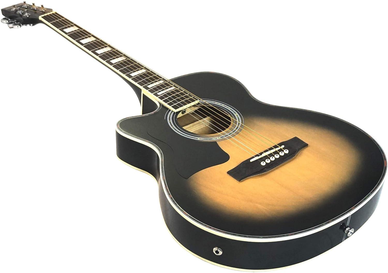 Benson S-Line zurdos eléctrica electro Semi Acústico Cuerpo Hueco guitarra (Vintage Sunburst) Fender púas y lecciones: Amazon.es: Instrumentos musicales