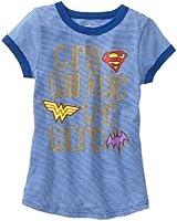 DC Superhero Girls Blue White Stripe Ringer Tee Shirt SuperGirl Wonder Woman and Batgirl Logos Girls Will Rule The World Glitter Words