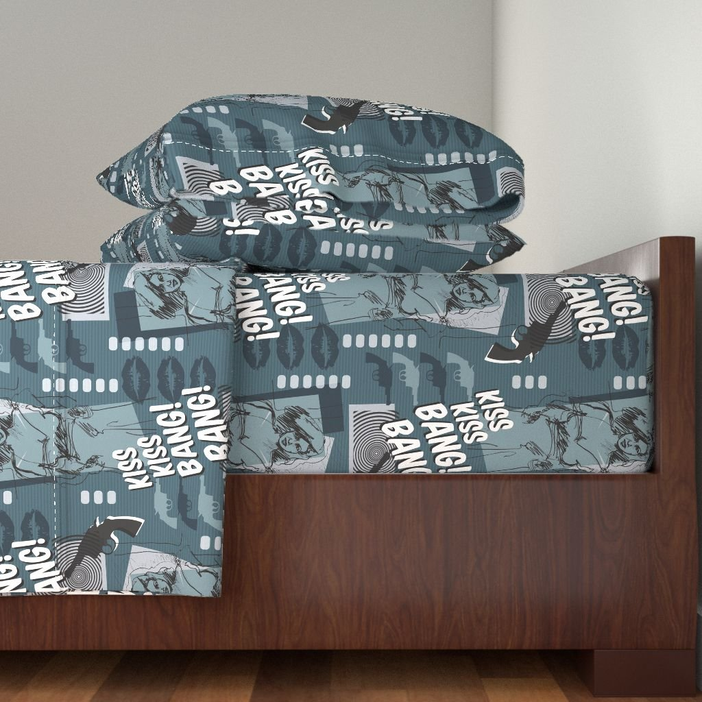 Roostery Film Noir 4pc Sheet Set Kiss Kiss Bang! Bang! by Celiaforrester King Sheet Set made with