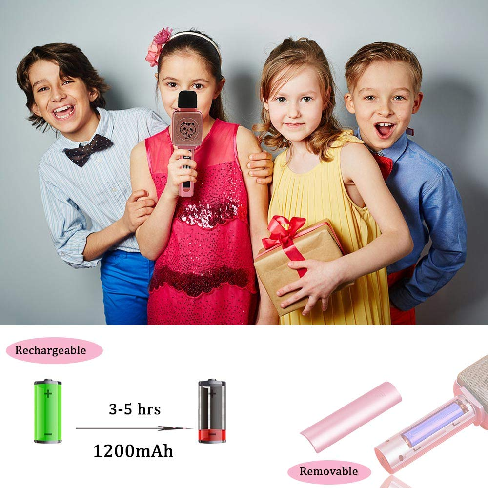 TSUN Kids Karaoke Microphone,Wireless Portable Karaoke Microphone for Kids with Bluetooth Speaker,Voice Changer and Song Recording,Holiday Birthday Gifts for Girl Age 4-18,Best present for Teen Girl by YSUN (Image #4)