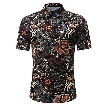 931f0d9a24be URSING Herren Kurzarm Hemd Herrenhemd Casual Slim Fit Gedruckt Casual Shirt  Tops Bluse Businesshemd Freizeithemd Retro
