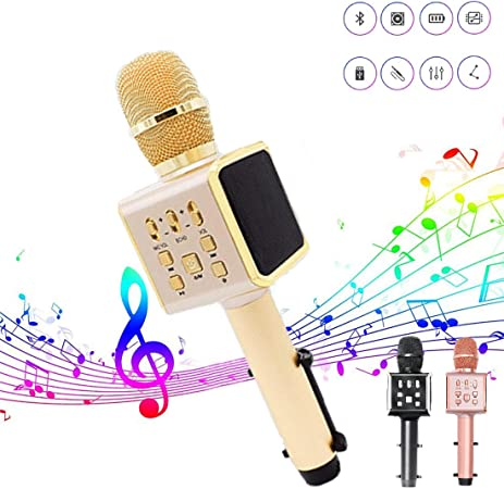 WHWH Micrófono inalámbrico Bluetooth Viene con Soporte para teléfono móvil portátil Ktv micrófono de Karaoke de Audio,Black-23.5 * 7.5cm: Amazon.es: Hogar