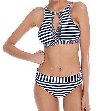 Amazon.com: Bikini de cuello alto 2018 sexy para mujer ...