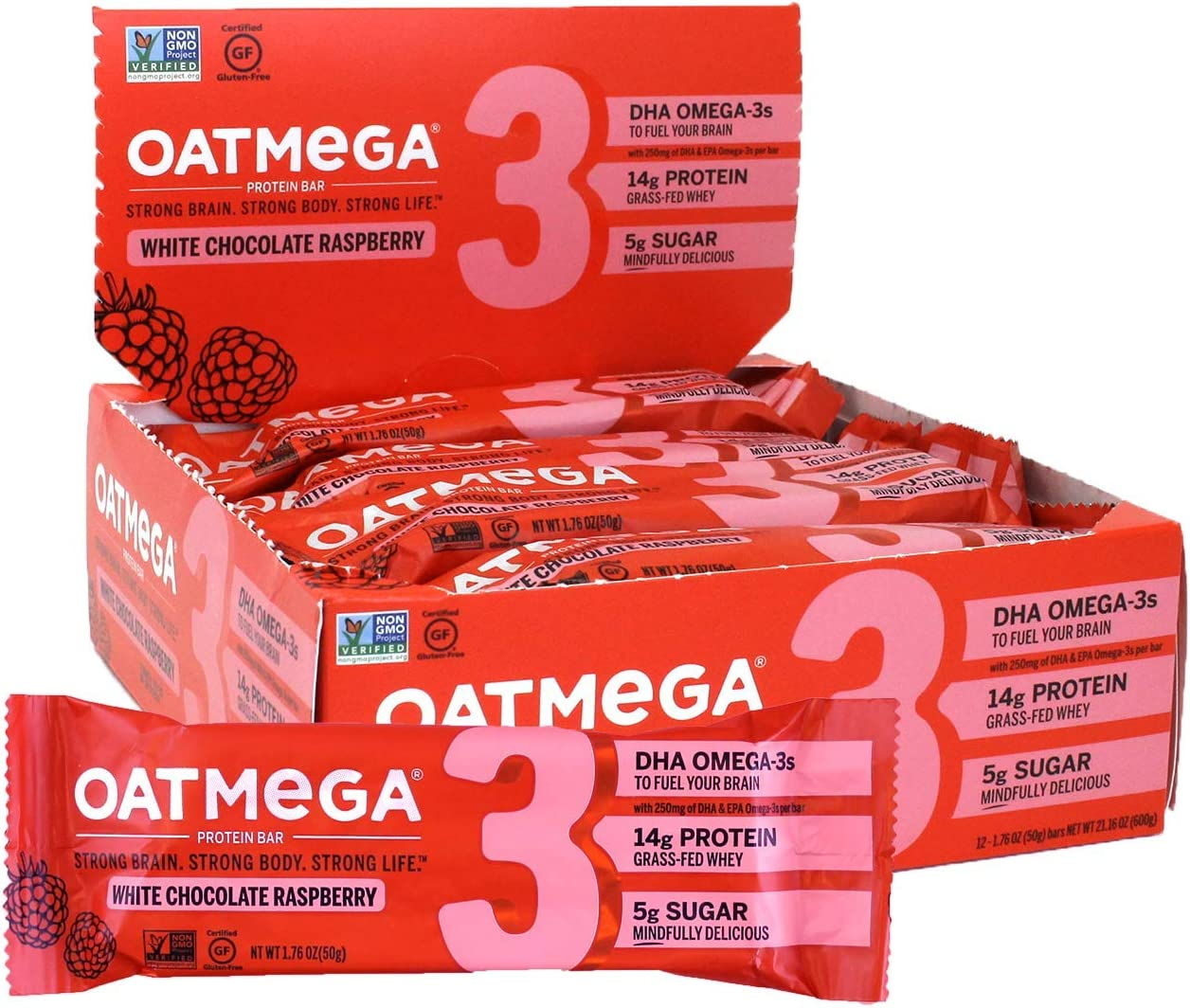 Oatmega Protein Bars, White Chocolate Raspberry, Healthy Snacks Made with Omega-3 and Grass-Fed Whey Protein, Gluten Free Protein Bars, 1.8oz (12 Count)