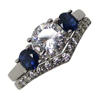Amazoncom Simulated Blue Sapphire Wedding Engagement Ring Set Jewelry