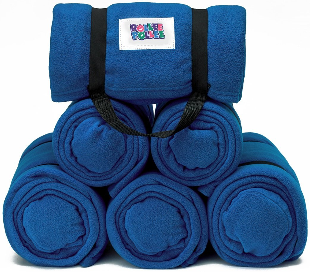 ROLLEE POLLEE Preschool and Daycare Roll Up Napping Blanket with Attached Pillow, Super Soft with Elastic Straps for Securing onto Standard Mats and Cots (Royal Blue 6-Pack)