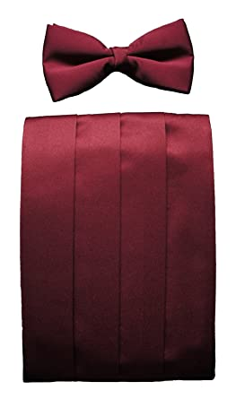 765c1dc607fb Burgundy Cummerbund & Bow Tie Set, Burgundy, Adjustable: Amazon.co ...