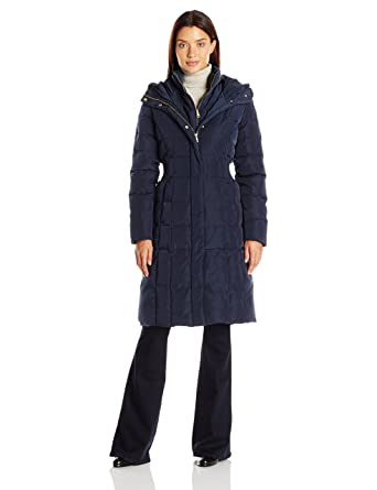 a8677232f3e9 Cole Haan Women s Taffeta Quilted Down Coat with Elasticated Side Waist  Detail at Amazon Women s Coats Shop
