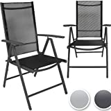 Miadomodo Garden Chair (2pc) High Back Seating Aluminium Synthetic Woven Fabric Furniture (dark grey)