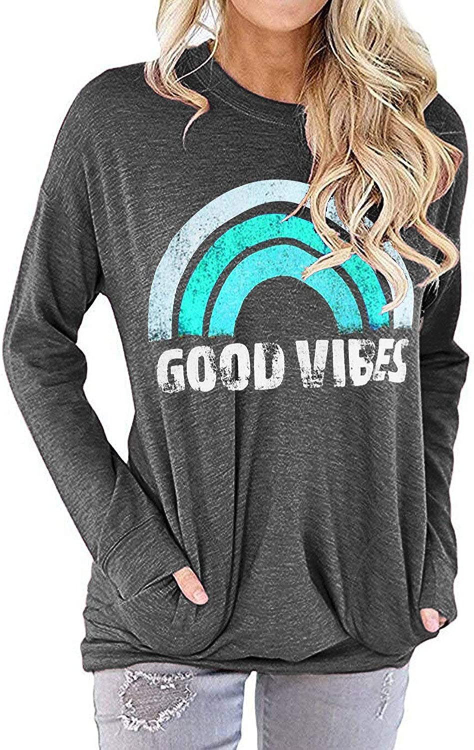Nlife Women Good Vibes Blouse Hoodies Long Sleeve Casual Tank Tops Graphic Tee Shirt Sweaters for Women