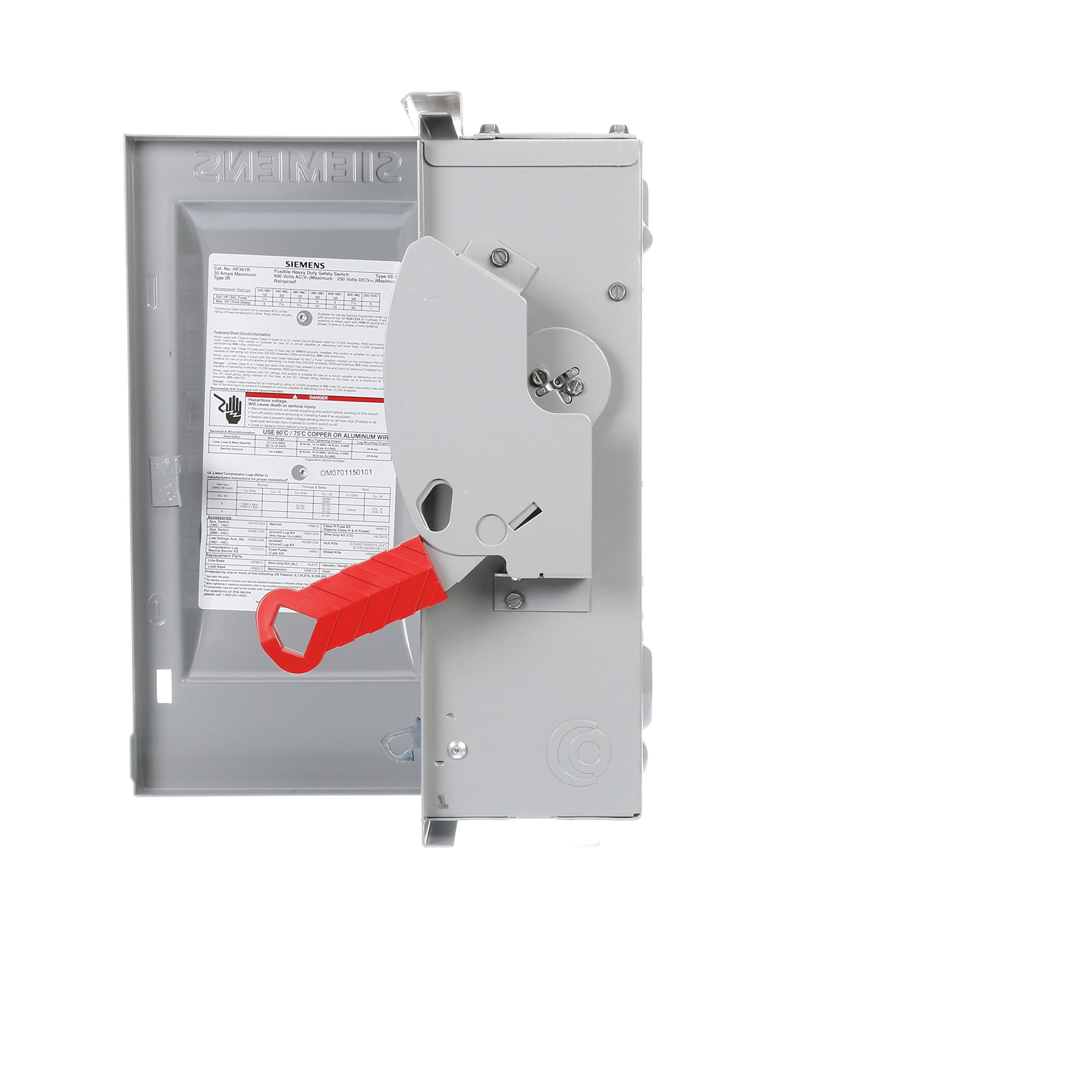 Siemens HF361R 30-Amp 3 Pole 600-volt 3 Wire Fused Heavy Duty Safety Switches by SIEMENS (Image #3)