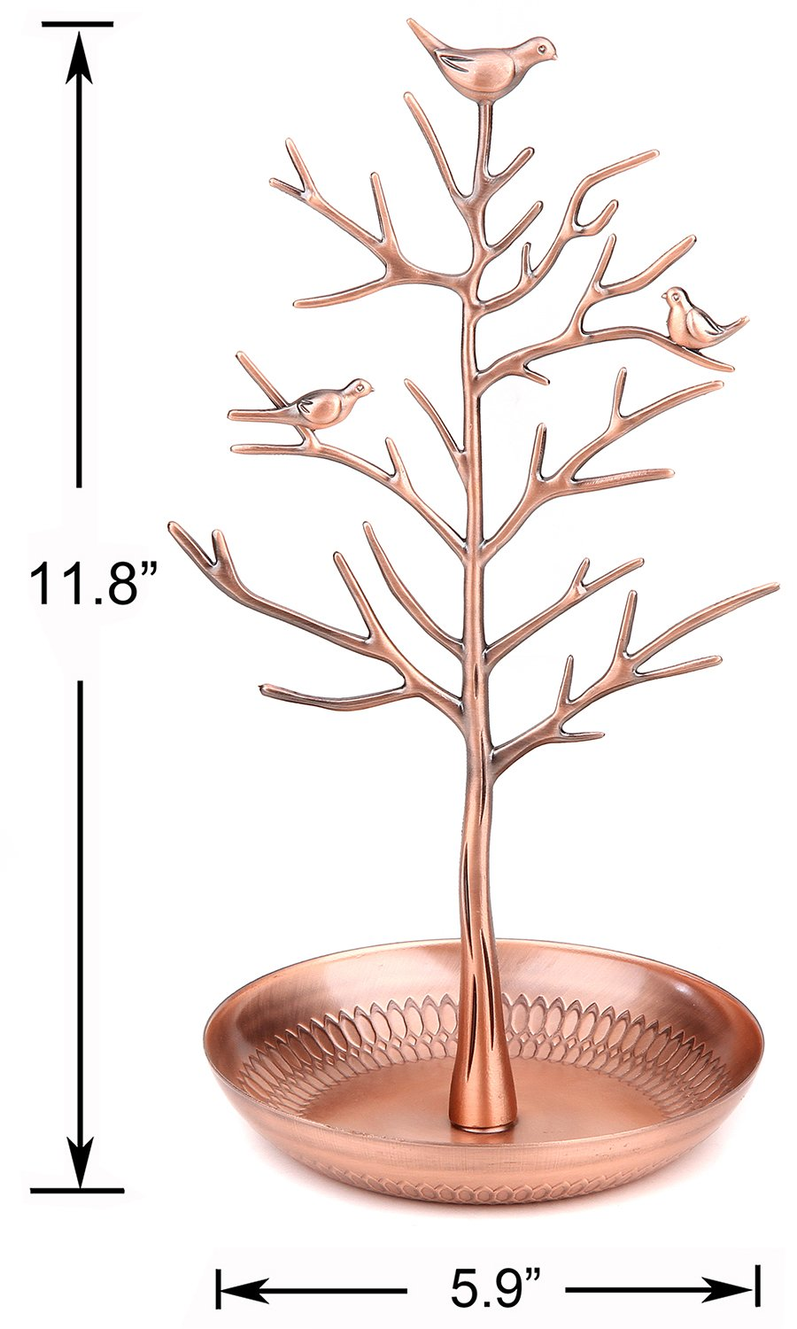 WELL-STRONG Earring Ring Holder Necklace Bird Decoration Jewelry Tower Tree for Girl Bronze by WELL-STRONG (Image #2)