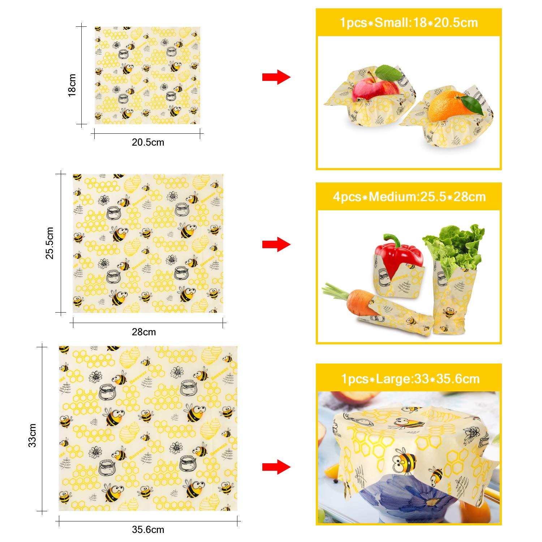 Frutta Shayson Involucro di Cera dapi-Set di 6 Bee Wrap Involucri,Cera dapi Sustainable Riutilizzabile per Alimenti Variety Pack Formaggi Verdure e Pan