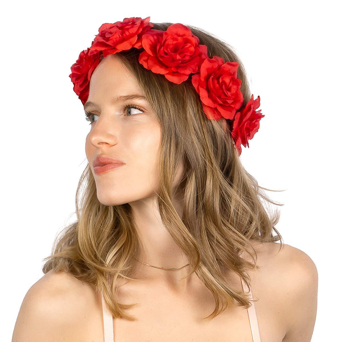 Women Girl Cinco De Mayo Flower Headband Hair Bows Hair Accessory