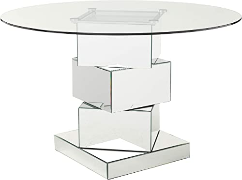 Meridian Furniture 726-T Haven Collection Modern Contemporary Mirrored Dining Table