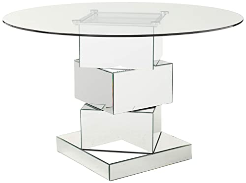 Meridian Furniture Haven Collection Modern Contemporary Mirrored Dining Table, Round Tempred Glass Top, 50 W x 50 D x 30 H,