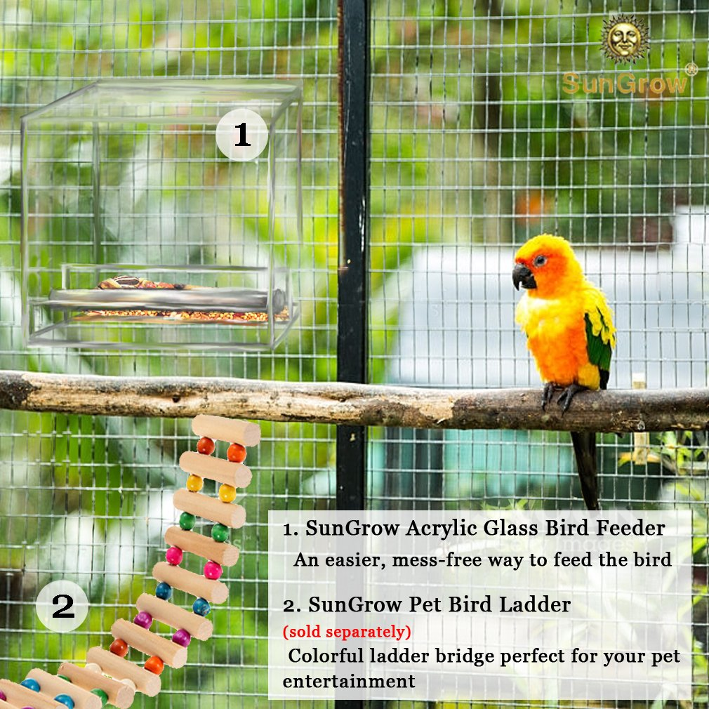 Acrylic Glass Bird Feeder Set -- Spill-proof, Crystal clear - Easy to install with 2 Hooks, Economical - Perch provides enjoyable eating time to Finch, Parakeet, Sparrows - Perfect for all Cage Sizes