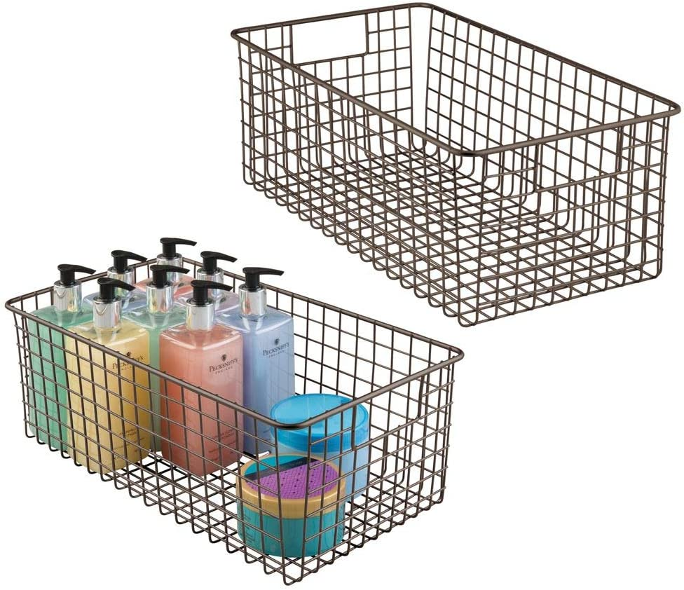 mDesign Farmhouse Decor Metal Wire Bathroom Organizer Storage Bin Basket - for Cabinets, Shelves, Countertops, Bedroom, Kitchen, Laundry Room, Closet, Garage - 2 Pack - Bronze
