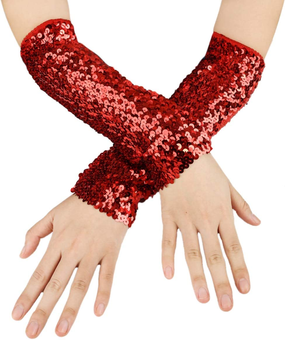 JISEN Shiny Sequins Oversleeves Arm Warmer Stretchy Fingerless Gloves A-Black