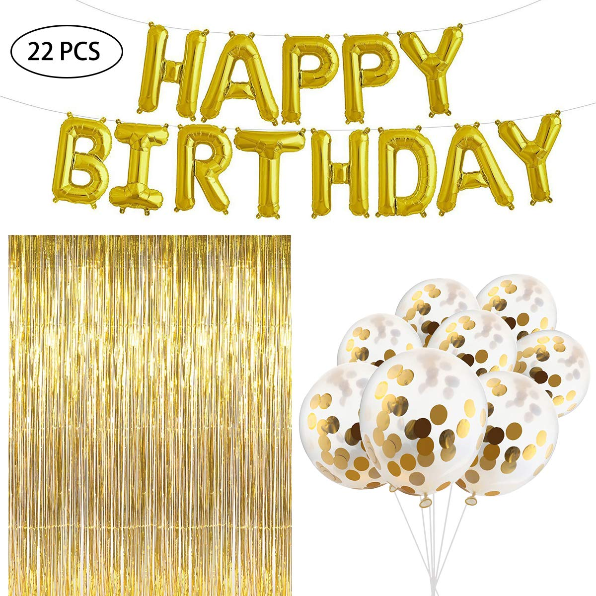 YoungRich 20PCS Confetti Balloons Jumbo Latex Balloons 12'' 1PCS Happy Birthday Foil Balloons Banner Letters Balloons 16'' 1PCS Foil Fringe Shimmer Curtains 3m for Birthday Party Decoration Gold