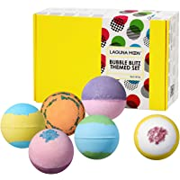 """Lagunamoon Bath Bombs Gift Set""""Don't Worry,Be Happy"""" Pack of 6 Natural Organic Handmade Fizzy Bath Bombs with Essential…"""