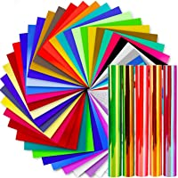 Vinyl Sheets, Ohuhu 50 Permanent Adhesive Backed Vinyl Sheets Set, 40 Vinyl Sheets + 5 Holographic Opal Vinyl Sheets +5…