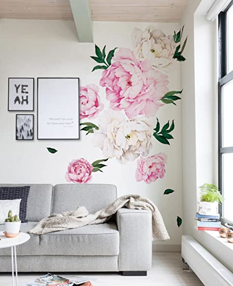 Attractive Peony Flowers Wall Sticker   Vivid Pink   By Simple Shapes