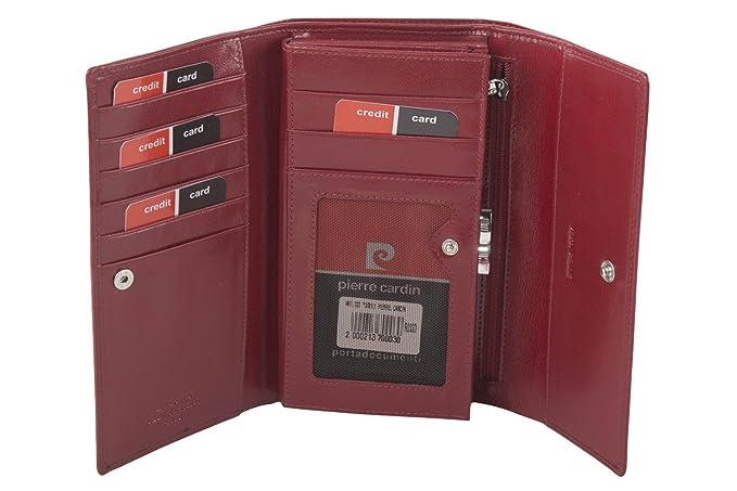 cartera mujer PIERRE CARDIN rojo en cuero fuelle con abertura a botòn A5123: Amazon.es: Ropa y accesorios