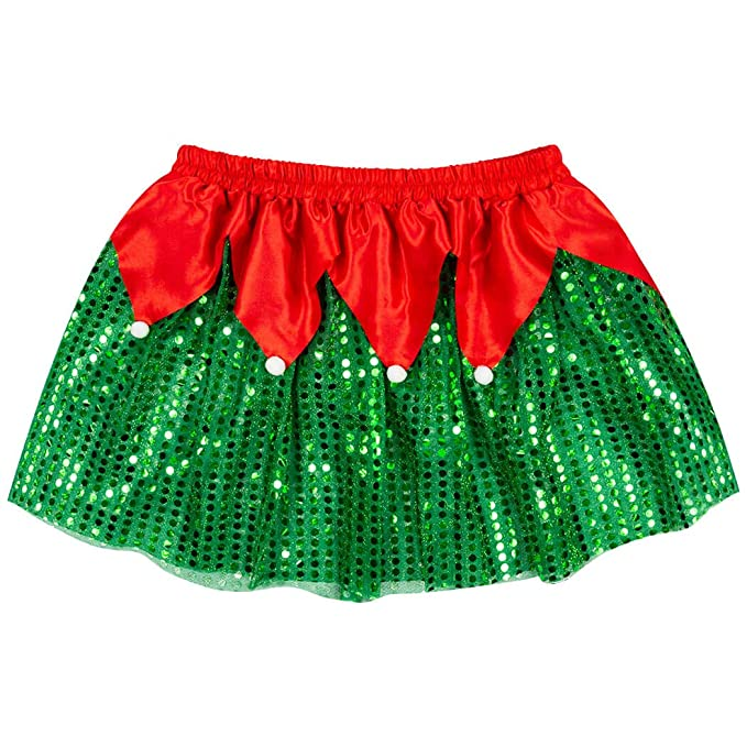 dbe54e53caad Amazon.com: Gone For a Run Holiday Running Costume Skirt | Sequined Elf Tutu:  Clothing