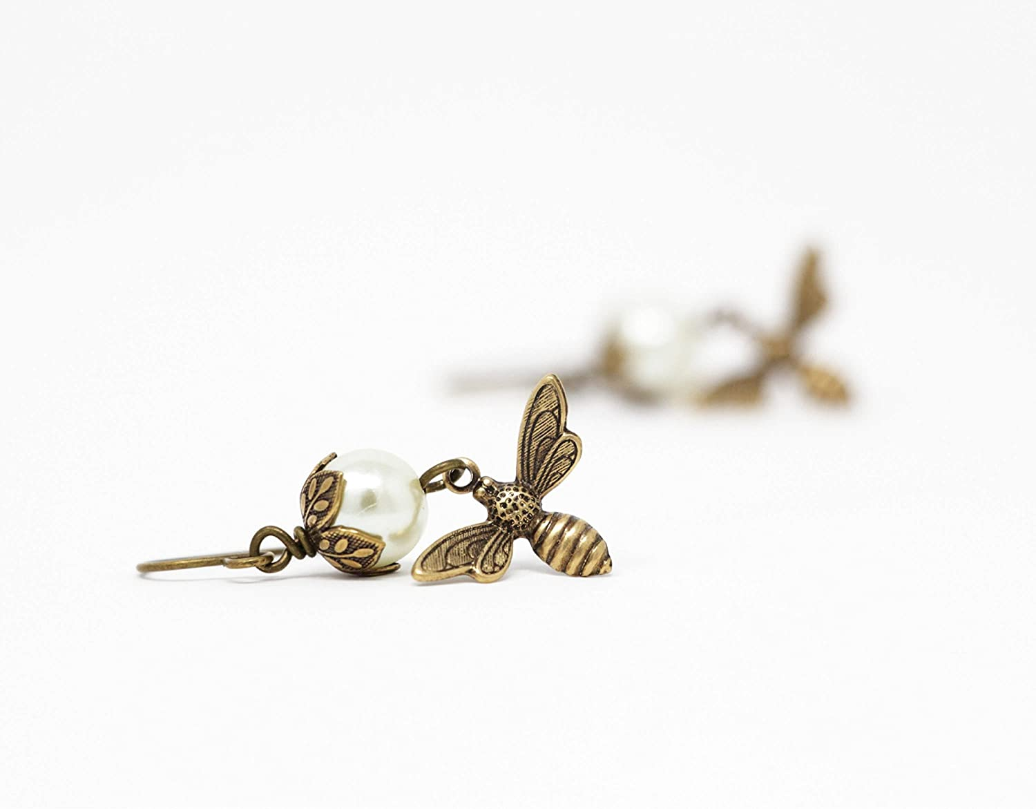 Bee Dangle Earrings With Ivory Simulated Pearls