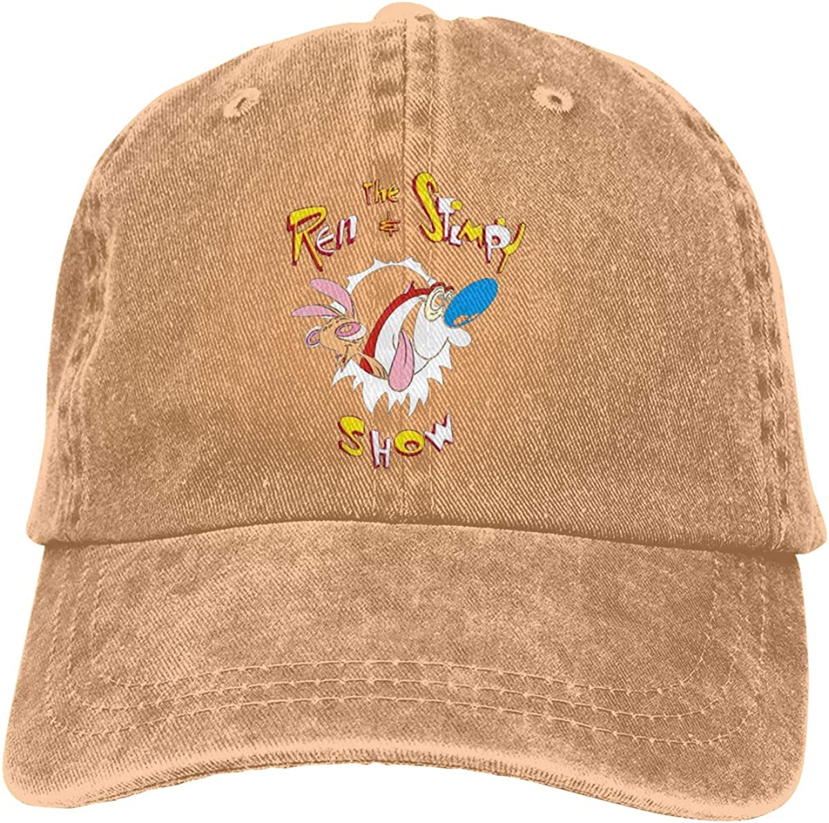 Zlizhi Funny The Ren and Stimpy Show Logo Men Women Plain Cotton Adjustable Washed Twill Low Profile Baseball Cap Hat