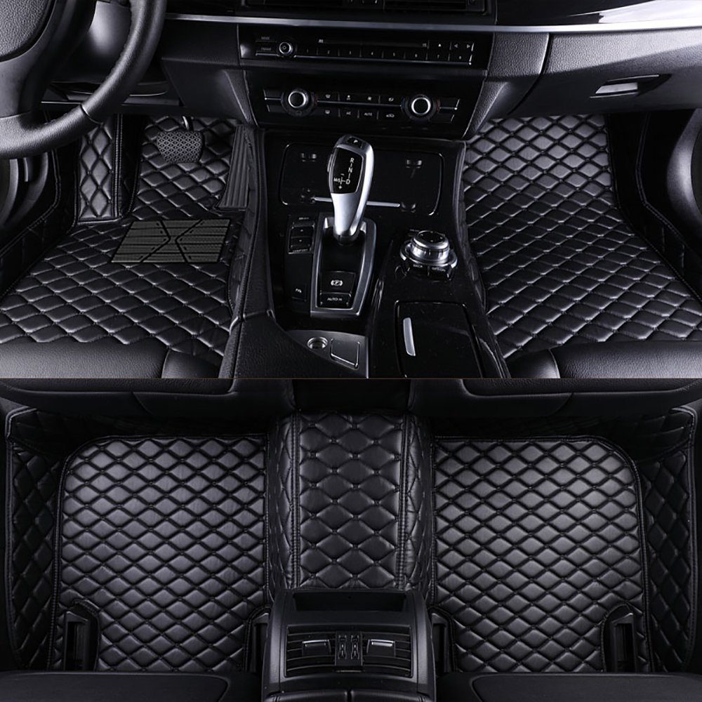 Black with Beige Stitching All Weather Full Coverage Waterproof Carpets XPE Car Liner VEVAE Custom Car Floor Mats for Audi A4 B6 Sedan 2000-2005 Laser Measured Faux Leather