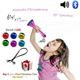 Kids Karaoke Microphone Wireless Singing Machine Bluetooth Cool Halloween Speaker with Princess Design, Creative Electronics Toys Birthday Gifts for Sister Girls Teenagers Ideal for Disney Songs
