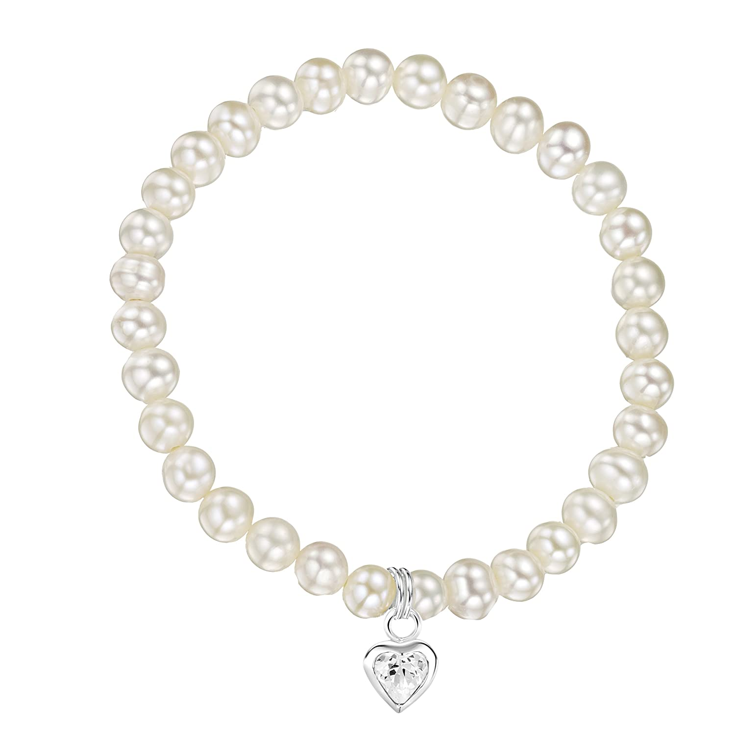 Jo for Girls Sterling Silver and Cubic Zirconia Heart Charm with White Freshwater Pearl Bracelet of 14cm