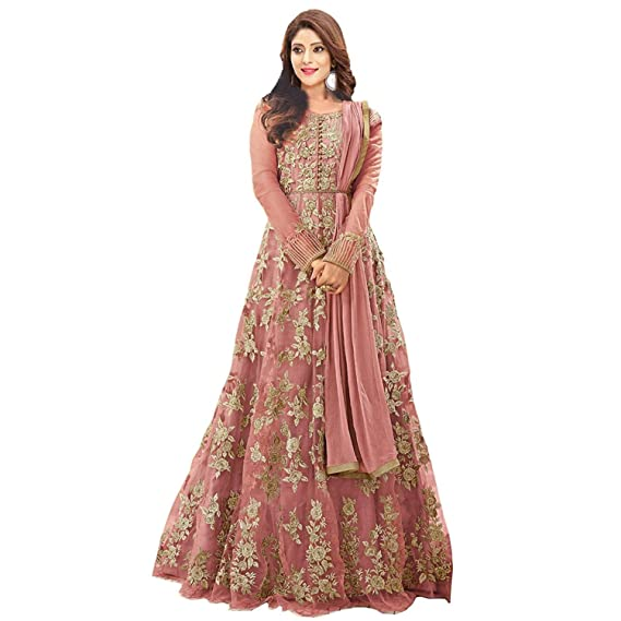 b5bceabe50 Generic Women's Net Heavy Suits Floor Length Gown /Anarkali /Salwar Suit  (x2, Peach, Free Size): Amazon.in: Clothing & Accessories