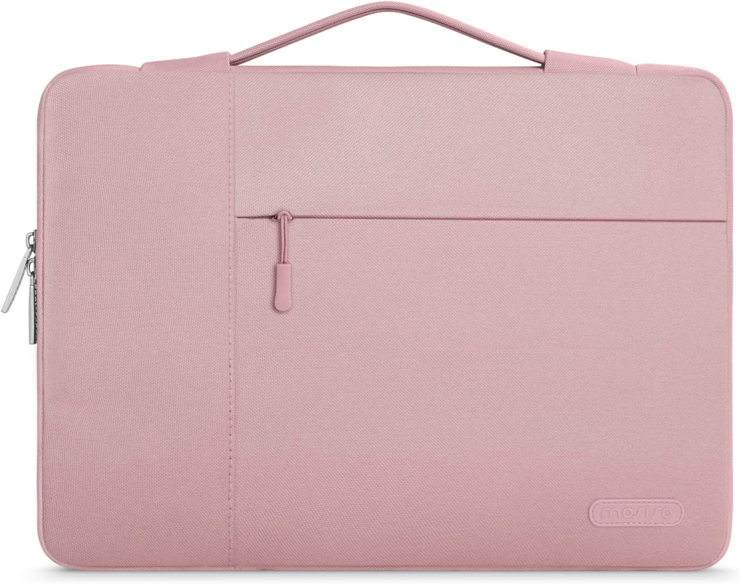 MOSISO Laptop Sleeve Case with Corner Protection Compatible with 13-13.3 inch MacBook Pro, MacBook Air, Surface Laptop 3/2/1 13.5, Lenovo Dell Toshiba HP ASUS Acer, Polyester Briefcase Bag, Pink