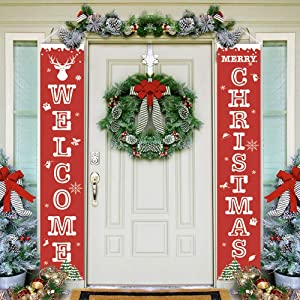Welcome Christmas Banner Decorations Merry Bright Red Xmas Porch Entryway Outdoor Indoor Sign for Door Wall Yard Hanging Banner Decor
