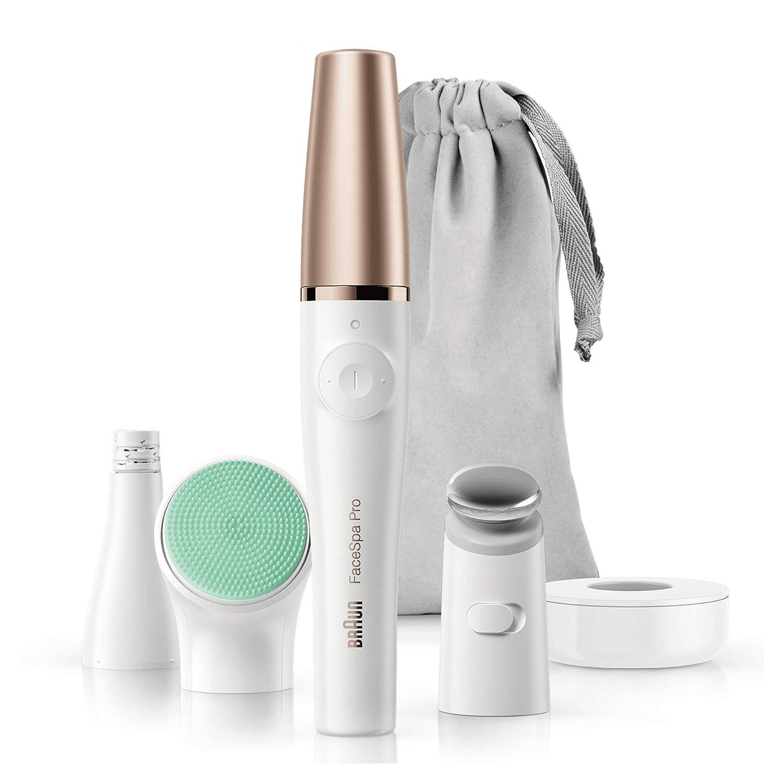Braun FaceSpa Pro 913 - Depiladora facial con 3 accesorios, blanco/bronce