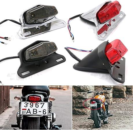 Wyshop Motorrad Universal 12v Hinterradbremse Rücklicht Kennzeichenleuchte Custom Für Harley Bobber Yamaha Chrom Rote Linse Auto
