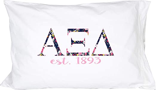 Alpha Epsilon Phi Floral Letters with Founding Year Pillowcase 300 Thread Count