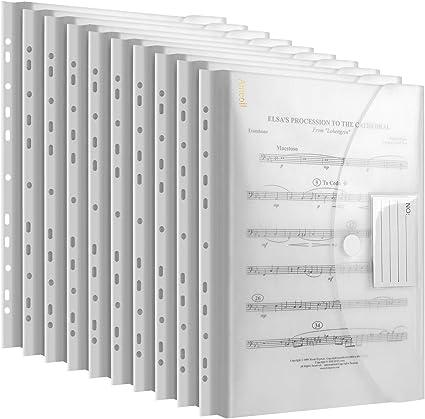 tasca trasparente con bordo perforato con 11 fori per organizzazioni trasparenti 20 cartelline portadocumenti formato A4 con chiusura in velcro documenti con bottone a pressione