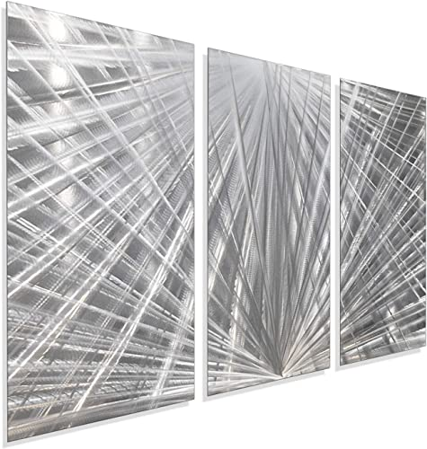 Statements2000 Modern Contemporary All Natural Silver Metal Wall Sculpture – Abstract Office Home Decor Painting Accent Art – Distant Thunder by Jon Allen – 42 x 24