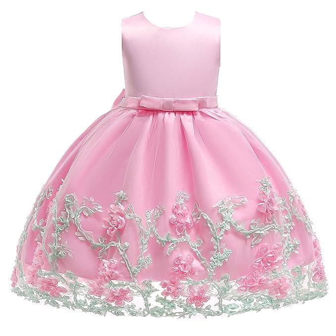 SINDE Flower Dresses Girls Embroidered Bridesmaid Girl Dress Sleeveless  Elegant Tulle Bow Tutu Toddler 2,11 Years